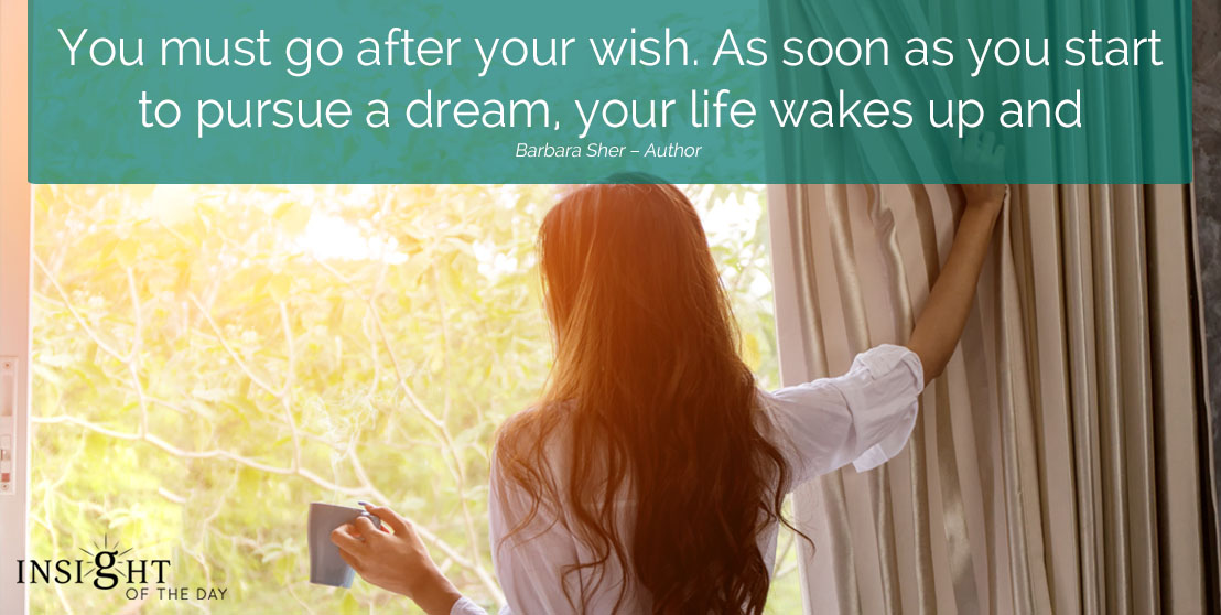 motivational quote: You must go after your wish. As soon as you start to pursue a dream, your life wakes up and everything has meaning. Barbara Sher – Author