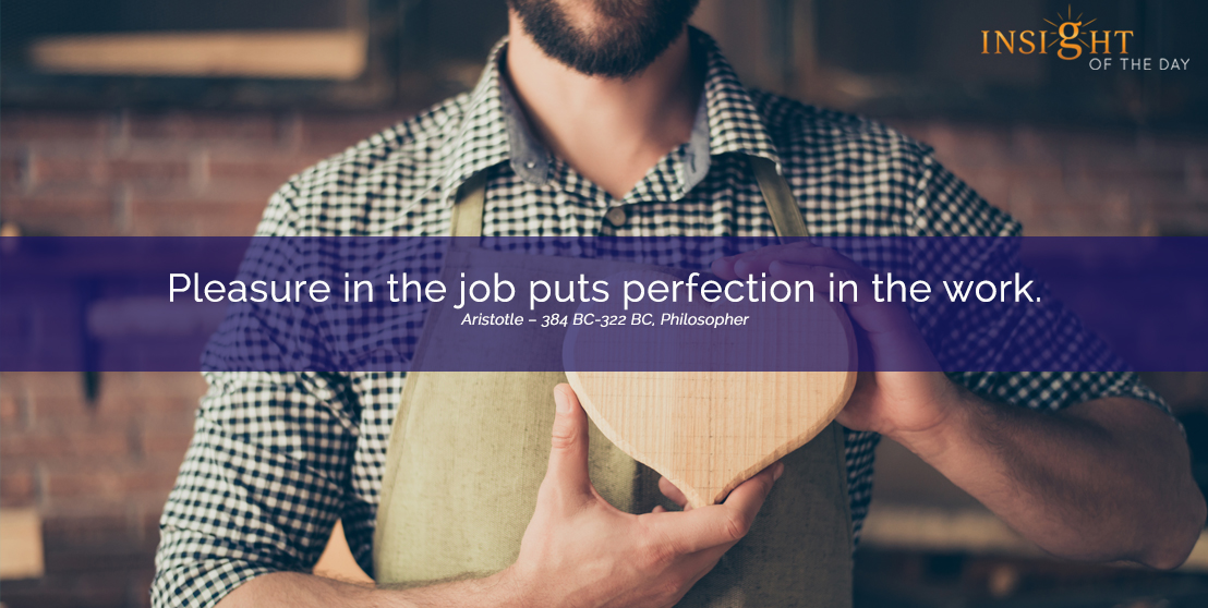 motivational quote: Pleasure in the job puts perfection in the work.
