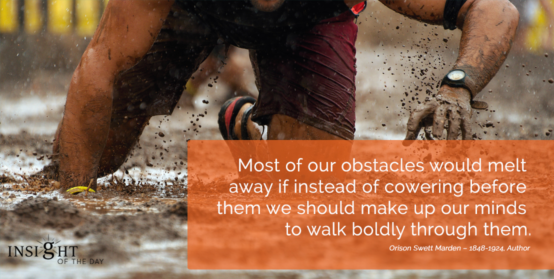 motivational quote: Most of our obstacles would melt away if instead of cowering before them we should make up our minds to walk boldly through them.