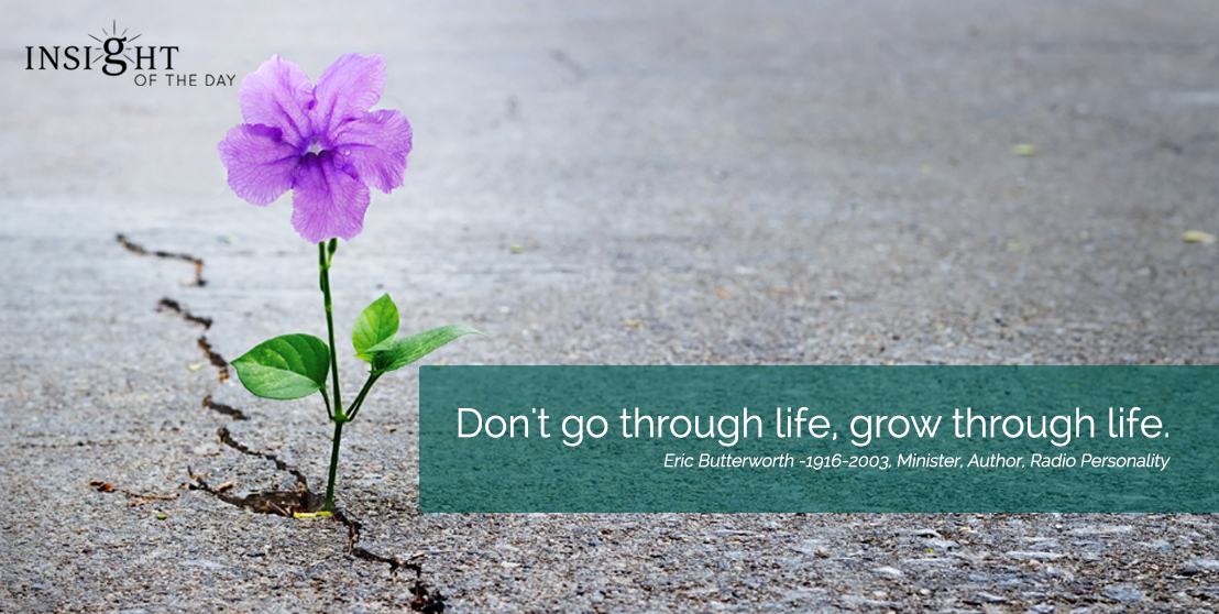 motivational quote: Don't go through life, grow through life. Eric Butterworth -1916-2003, Minister, Author, Radio Personality width=