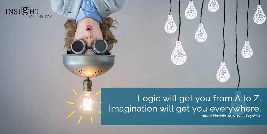 motivational quote: Logic will get you from A to Z.  Imagination will get you everywhere. Albert Einstein, 1879-1955, Physicist width=