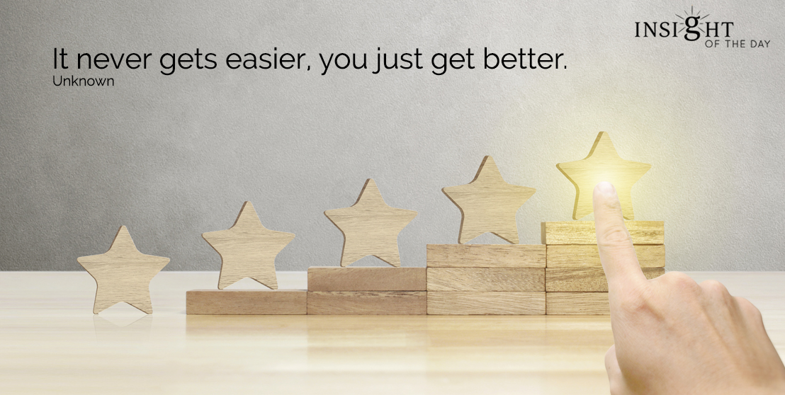 motivational quote: It never gets easier, you just get better.    Unknown