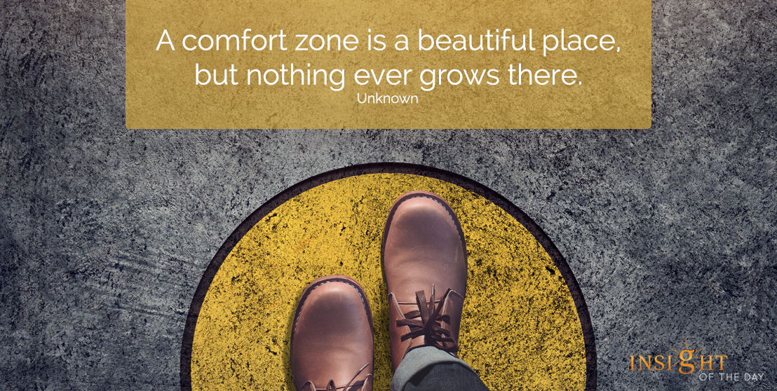 motivational quote: A comfort zone is a beautiful place, but nothing ever grows there.  Unknown