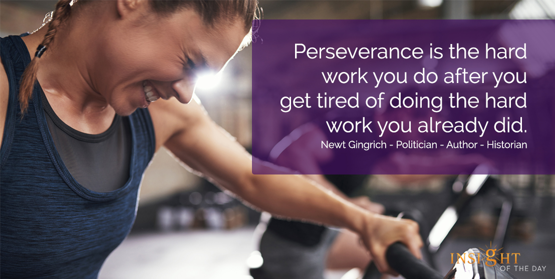 motivational quote: Perseverance is the hard work you do after you get tired of doing the hard work you already did.  Newt Gingrich - Politician - Author - Historian