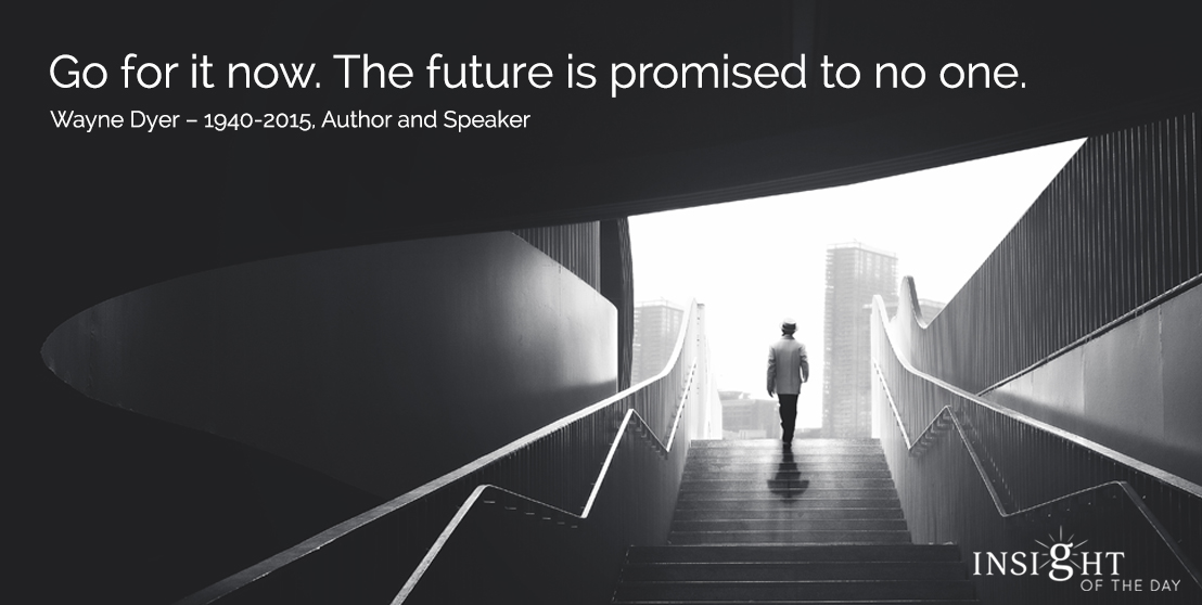 motivational quote: Go for it now. The future is promised to no one.