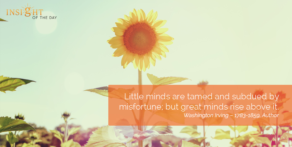 motivational quote: Little minds are tamed and subdued by misfortune; but great minds rise above it.