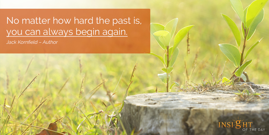motivational quote: No matter how hard the past is, you can always begin again.