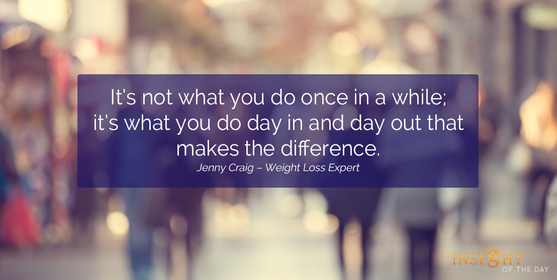 motivational quote: It's not what you do once in a while; it's what you do day in and day out that makes the difference.