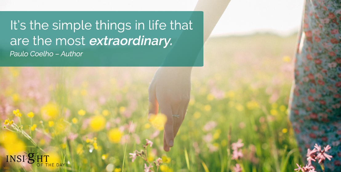 motivational quote: It's the simple things in life that are the most extraordinary.