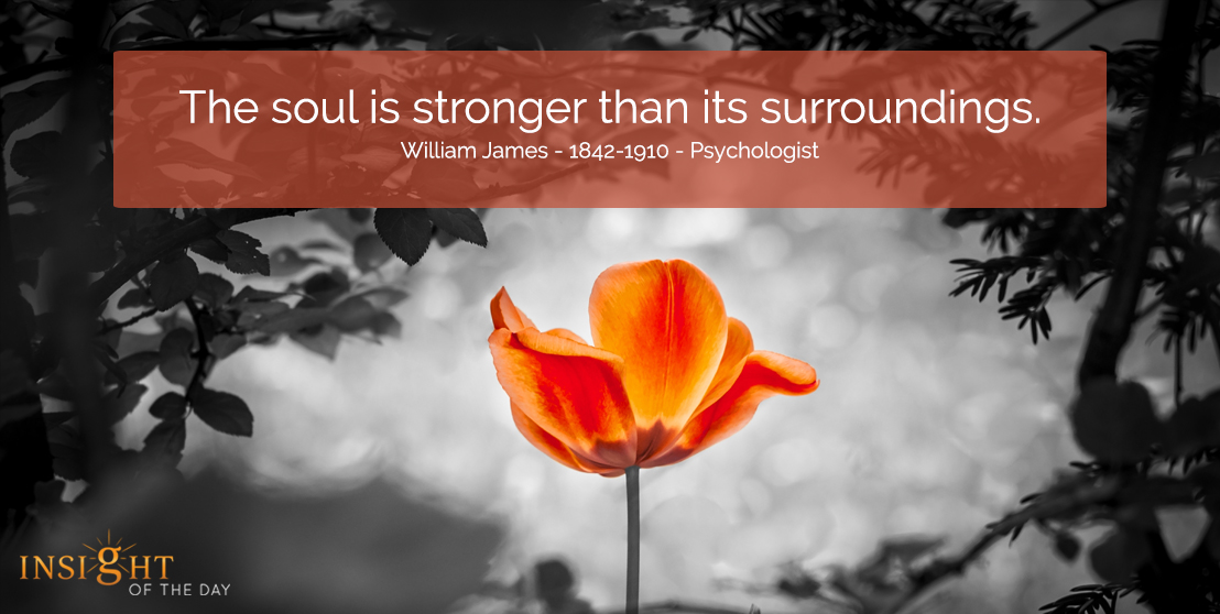 motivational quote:  The soul is stronger than its surroundings. William James - 1842-1910 - Psychologist width=
