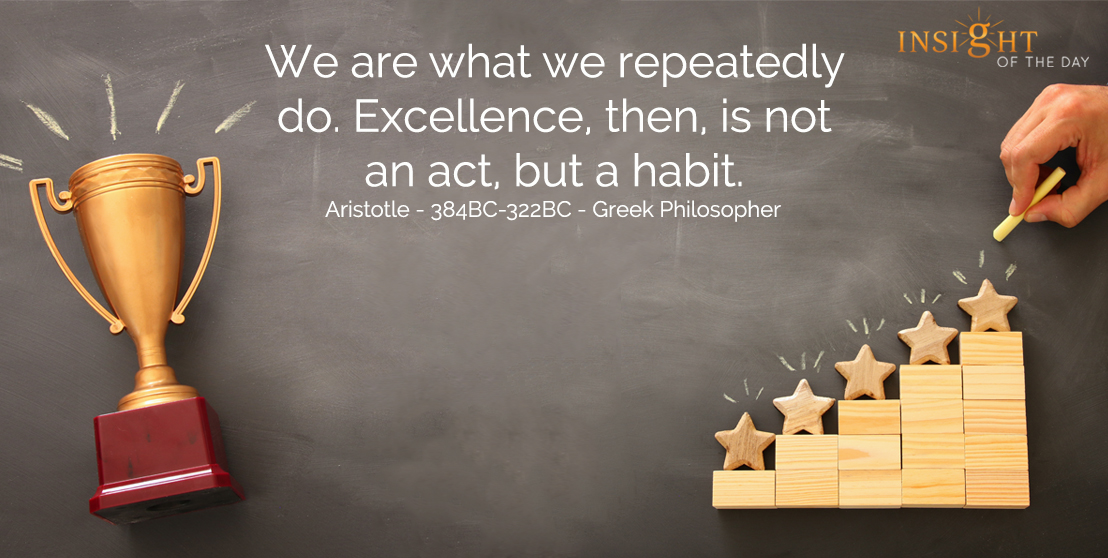 motivational quote: We are what we repeatedly do.  Excellence, then, is not an act, but a habit.  Aristotle - 384BC-322BC - Greek Philosopher