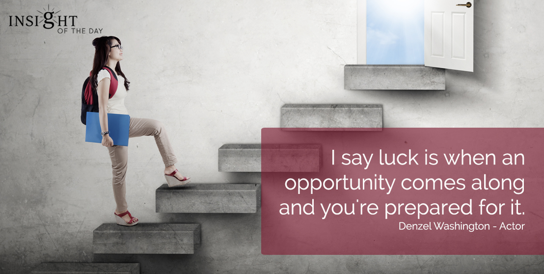 motivational quote: I say luck is when an opportunity comes along and you're prepared for it.  Denzel Washington - Actor