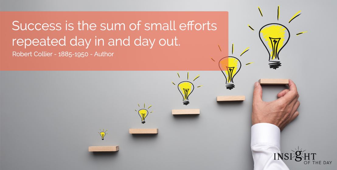 motivational quote: Success is the sum of small efforts repeated day in and day out.  Robert Collier - 1885-1950 - Author