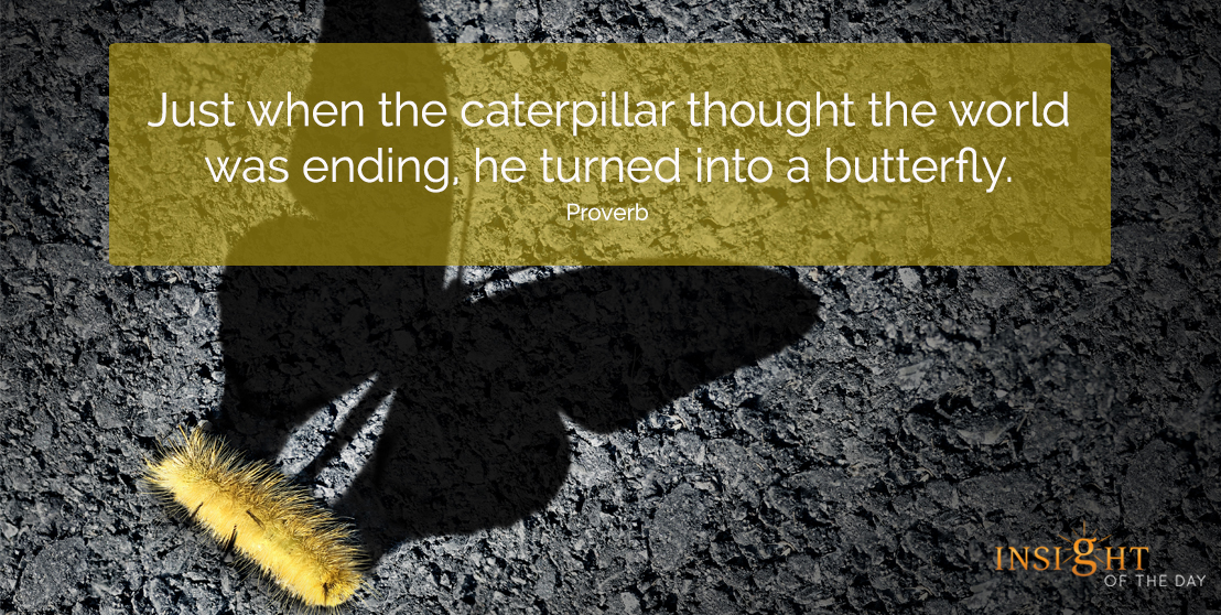 motivational quote: Just when the caterpillar thought the world was ending, he turned into a butterfly.  Proverb