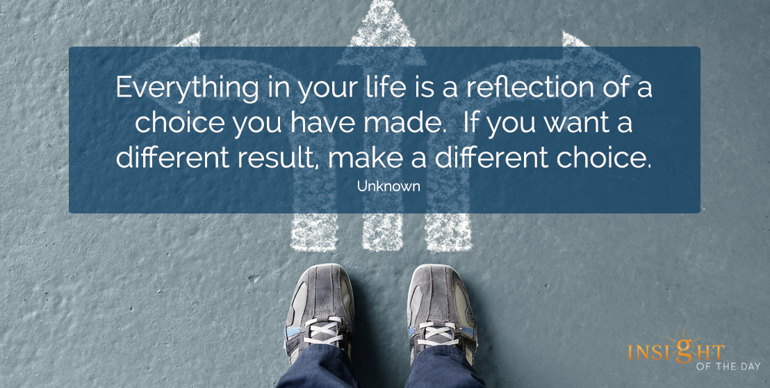 motivational quote: Everything in your life is a reflection of a choice you have made. If you want a different result, make a different choice. Unknown