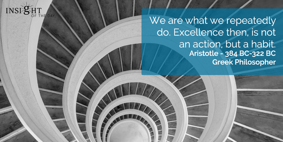 motivational quote: We are what we repeatedly do.  Excellence then, is not an action, but a habit.    Aristotle - 384 BC-322 BC - Greek Philosopher