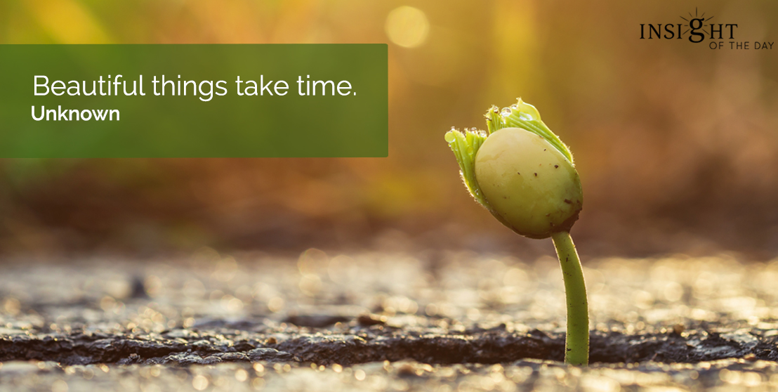 motivational quote: Beautiful things take time.  Unknown
