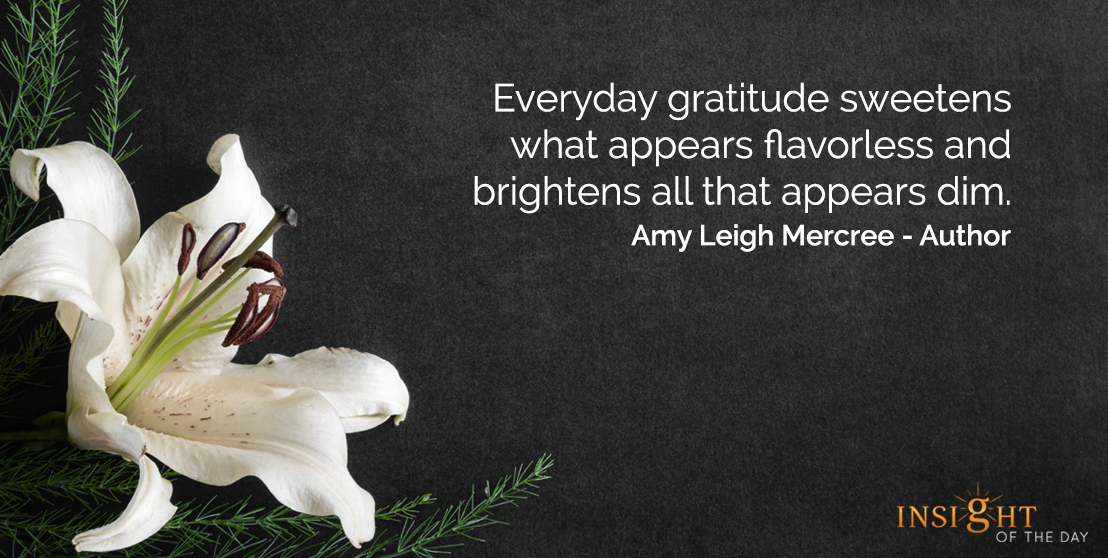 motivational quote: Everyday gratitude sweetens what appears flavorless and brightens all that appears dim.  Amy Leigh Mercree - Author