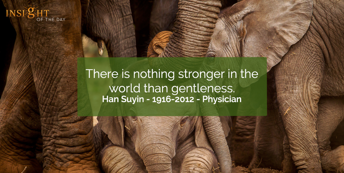 motivational quote: There is nothing stronger in the world than gentleness.    Han Suyin - 1916-2012 - Physician