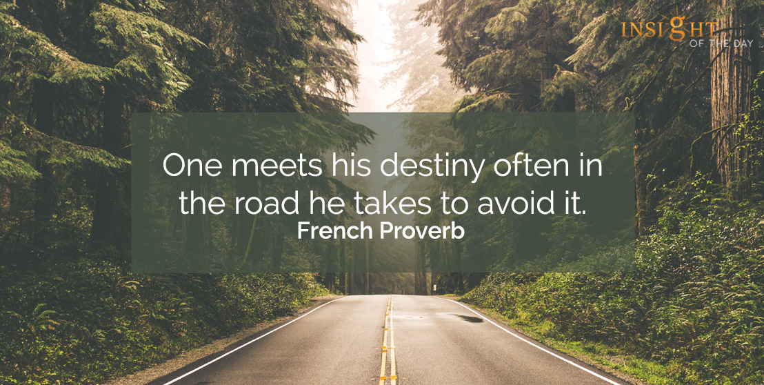 motivational quote: One meets his destiny often in the road he takes to avoid it.    French Proverb