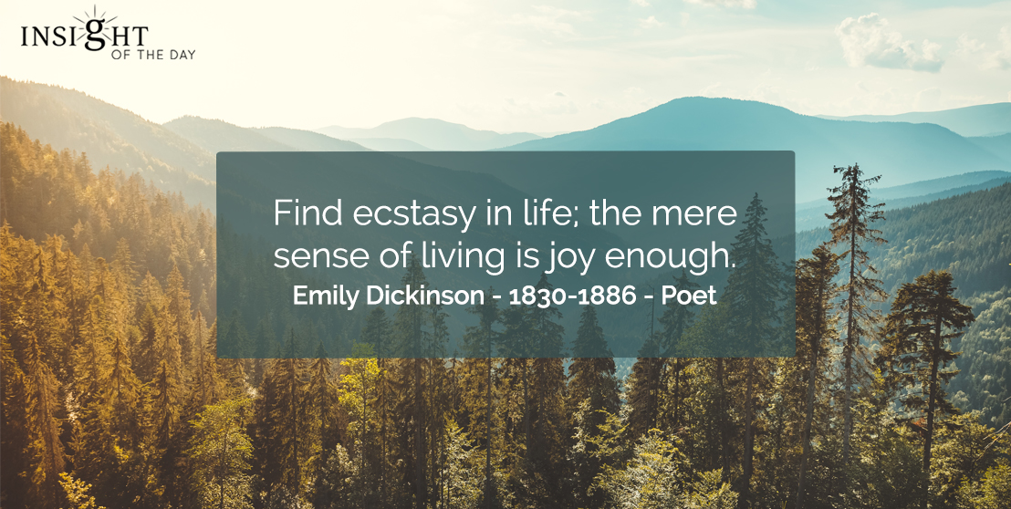 motivational quote: Find ecstasy in life; the mere sense of living is joy enough.    Emily Dickinson - 1830-1886 - Poet