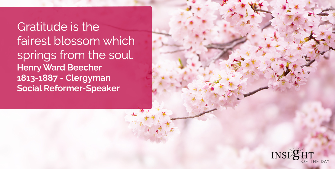 motivational quote: Gratitude is the fairest blossom which springs from the soul.</p><p>Henry Ward Beecher - 1813-1887 - Clergyman-Social Reformer-Speaker