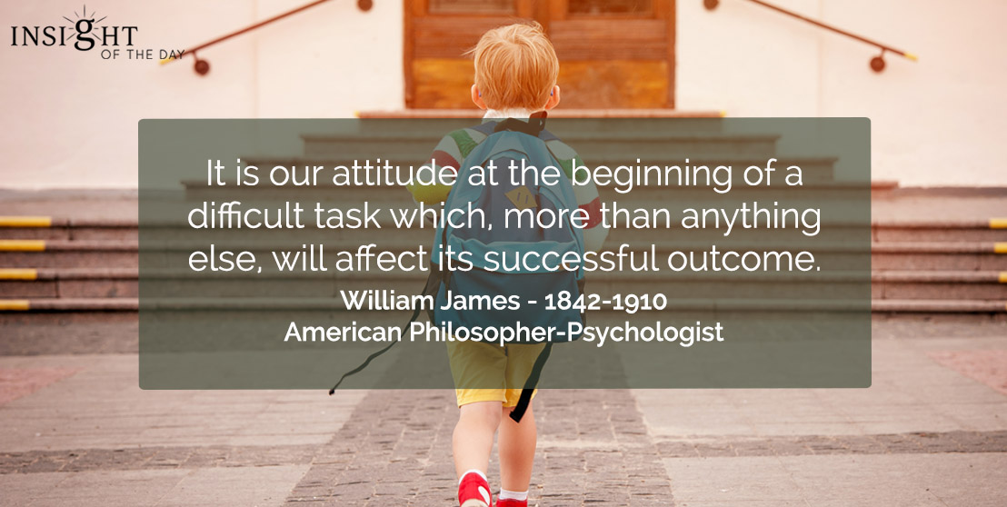 motivational quote: It is our attitude at the beginning of a difficult task which, more than anything else, will affect its successful outcome.</p><p>William James - 1842-1910 - American Philosopher-Psychologist