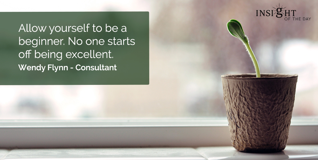 motivational quote: Allow yourself to be a beginner. No one starts off being excellent.  Wendy Flynn - Consultant