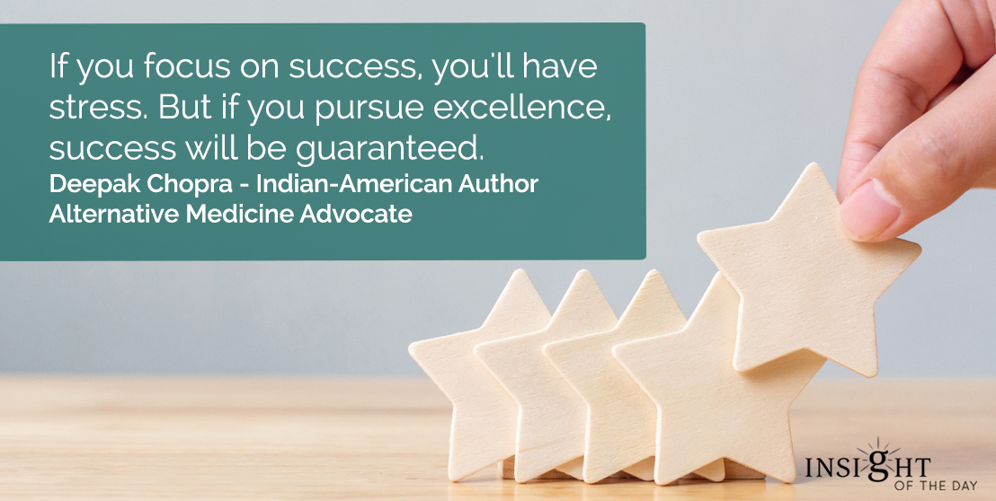 motivational quote: If you focus on success, you'll have stress. But if you pursue excellence, success will be guaranteed.</p><p>Deepak Chopra - Indian-American Author-Alternative Medicine Advocate