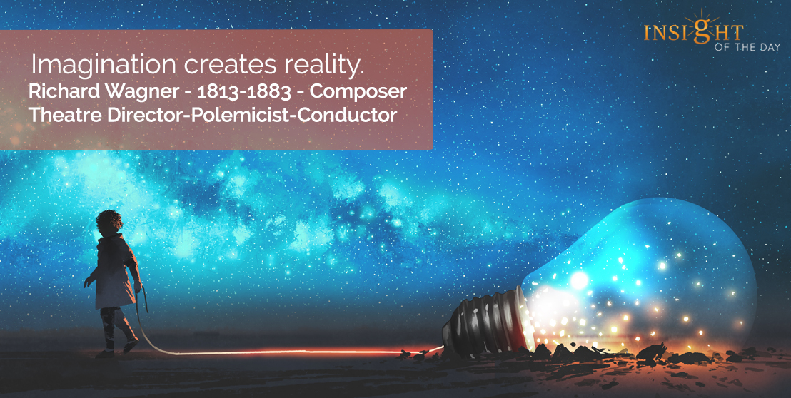 motivational quote: Imagination creates reality.  Richard Wagner - 1813-1883 - Composer-Theatre Director-Polemicist-Conductor